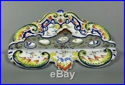 Antique Rare French Hand Painted ROUEN Wall Pipe Holder Rack Faience c1900