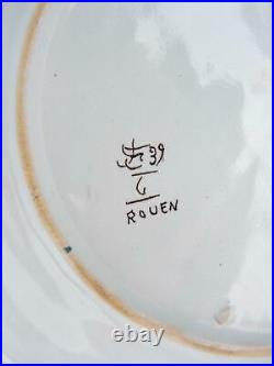 Antique Rouen Faience Bird of Paradise 9 3/4 Plate Signed