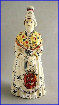 Antique Rouen French Faience Figural Lady Dinner Bell