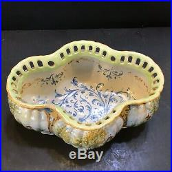 Antique Rouen French faience tin Glaze Ornate Reticulated Bowl Planter 19c