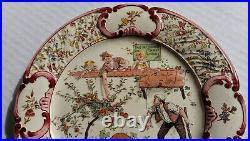 Antique SARREGUEMINES PLATE, Enfants Richard Faience'Don't Touch Apples' 1900 VG