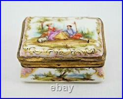 Antique Samson French Faience Trinket Box with Gold Ormolu Porcelain