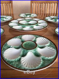 Antique Set French Longchamp Majolica 6 Oyster Plates + Platter
