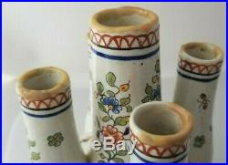 Antique TULIP Pair Vases FRENCH FAIENCE Rouen Rosadon c1890