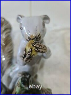 Antique Tin Glazed Squirrel Figure, French Faience