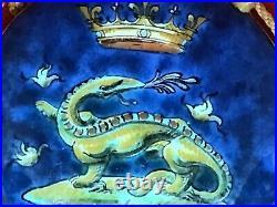 Antique Ulysse Blois E (Emile) Balon French Faience Salamander King Wall Pocket