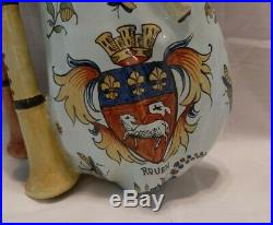 Antique Unusual French Faience CA Biniou Bagpipe Wall Pocket