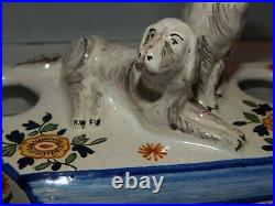 Antique VTG French Faience Pottery Double Inkwell Desk Tray Dog Figures AK Mark