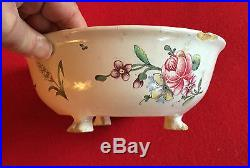 Antique Veuve Perrin French Faience Tin Glaze Pottery Bowl Flowers 18th c. Feet