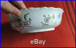 Antique Veuve Perrin French Faience Tin Glaze Pottery Bowl Flowers 18th century