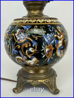 Antique Victorian French Gien Faience Black Renaissance Pottery Bronzed Pot Lamp
