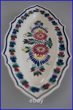 Antique Vintage 1940s Large French Country Quimper Faience Fish Platter 19