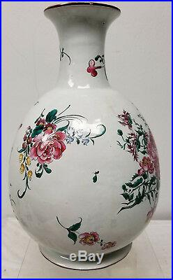 Antique Vintage French Faience Maiolica Majolica Floral Vase Lamp