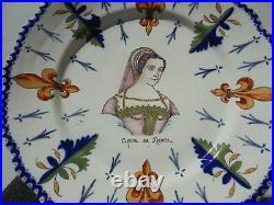 Antique Vintage French Faience Pottery HP Claude de France Portrait Plate 9 1/2