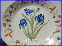 Antique Vintage French Faience Pottery Malicorne Iris Dinner Plate 9 3/4