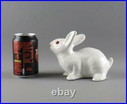 Antique Vintage French Tin Glaze Faience Bavent Type Bunny Rabbit Glass Eyes