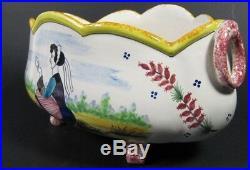 Antique Vintage HB QUIMPER Hand Painted Faience Planter French Centerpiece Pot