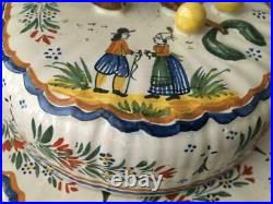 Antique Vtg French Hand Painted Faience Henriot Quimper Butter Cheese Tray Dish