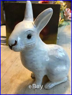 Antique White Faience French Terra Cotta Rabbit Glass Eyes 8.50 In. Bavent