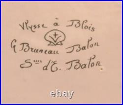 Antique c1890 ULYSSE BLOIS France Faience EMILE BALON Blue HERALDIC SWAN Plate