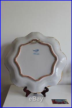 Antique large platter french majolica faience Molin Charolles 1900 cherub putti