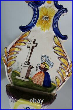 Antique quimper French faience holy water font religious rare