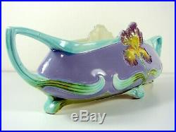 Art Nouveau French Faience Barbotine Handeled Jardiniere Iris Decoration Signed