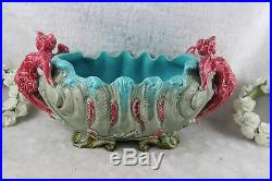 Art nouveau caryatid winged lady French faience barbotine planter jardiniere