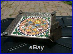 Arts & Crafts French Faience Longwy Tile Hammered Iron Cigar Smoke Stand