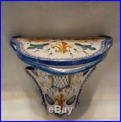 Beautiful Antique French Faience CA Alcide Chaumeil Wall Shelf c1900