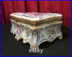 Beautiful Large Vintage Antique French Faience Porcelain Dresser Keepsake Box
