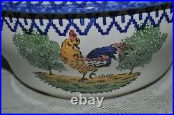 Beautiful Tureen Antique Faience St Clement Decor Au Rooster