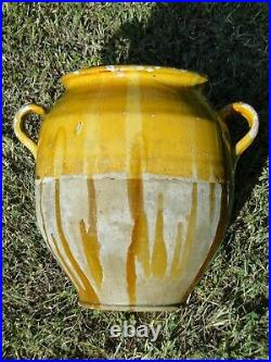 Big French antique art Pottery pot a confit Redware faience yellowware