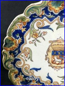 C. 19th Antique Vintage French France Rouen Heraldic Armorial Faience Plate