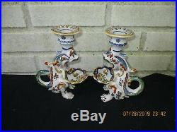 Captivating Antique Pair French Faience Dragon Candle Holders Colorful, Charming