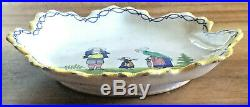 Charming Antique French Quimper Majolica Faience Plate Marked Hb Only, 1883-1895