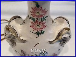 Charming Antique Vintage French Faience Tin Glaze Pottery Table Lamp