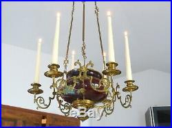 Charming French Church Brass Faience Chandelier Candle holders Religious 19TH