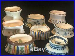 Collection Salt Cellars Faience 18th century Antique French Salerons XVIII ème