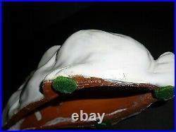 Cute Antique French Bavent Terracotta Tin Glazed Faience Rabbit Glass Eyes