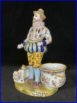 DESVRES FOURMAINTRAUX FRERES HENRI IV Antique TRIPLE SALT French Faience c1885