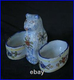 DESVRES WEE CAT DOUBLE SALT CHARLES FOURMAINTRAUX Antique French Faience c1905