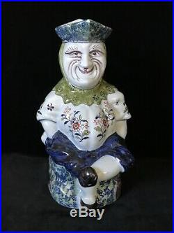 Desvres JESTER TOBY JUG PICHET SEATED PANTALOON Antique French Faience, c. 1910