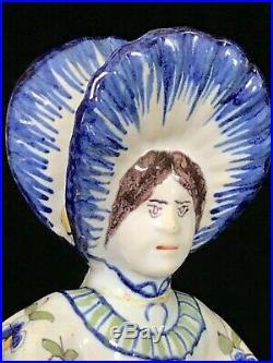 Desvres LADY DOUBLE SALT Fourmaintraux- Courquin Antique French Faience c. 1880