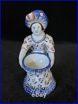 Desvres LADY MAN DOUBLE SALT FOURMAINTRAUX COURQUIN Antique French Faience c1895