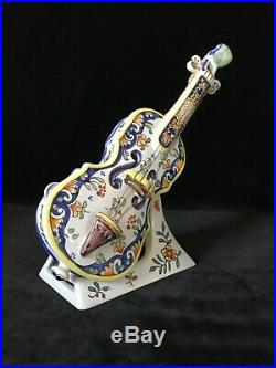 Desvres ROUEN VIOLIN & STAND Antique French Faience II Geo Martel 11.6 in. C1920