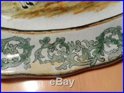 Dish Antique Breton 19 Century Faience Quimper Brittany Ceramic French