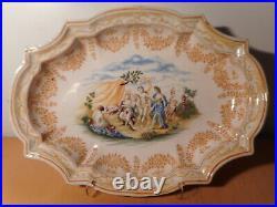 Dish Antique Faience Samson Moustiers 19 Century Decor Mythological Angel Putti