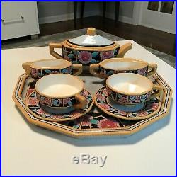 EMAUX DE LONGWY FRANCE FAIENCE MAJOLICA CRACKLE GLAZE ANTIQUE TEA or COFFEE SET