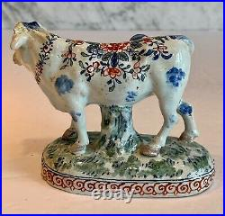 Early Antique Moustiers French Faience Cow c. 1763